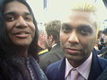 Anand Bhatt (left) and Tony Kanal; No Doubt (right) on the red carpet at the Grammy Awards