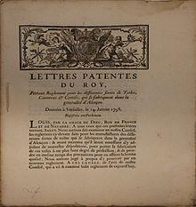 Une reproduction de lettres patentes du Roi Louis XV, en date du 14janvier1738, visant à combattre la fraude qui dépréciait les textiles fabriqués dans le Perche.