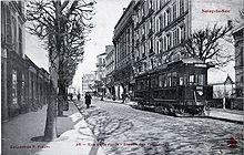 Vue d'un tramway à Noisy-le-Sec vers 1900. Le prolongement du T1 à Noisy-le-Sec par la rue Jean-Jaurès utiliserait l'itinéraire d'une ligne du début du vingtième siècle.