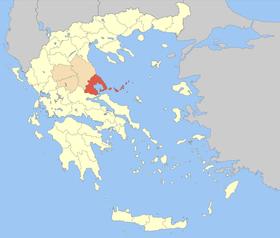 Ubicación de la prefectura de Magnesia en Grecia.