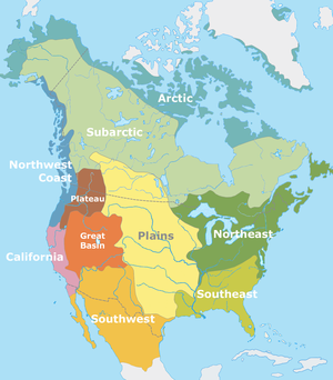 """Colour coded map of North America showing the classification of indigenious peoples of North America according to Alfred Kroeber showing the areas of Arctic, Subarctic, Northwest Coast, Northeast Woodlands, Plains, Plateau"""