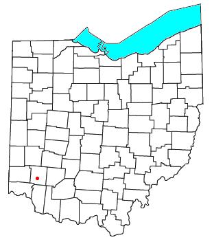 Location of Zoar in Warren County, Ohio