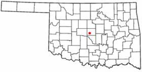 Localización en el estado de Oklahoma.