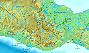 Mapa físico de la región del istmo