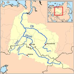 Carte du bassin de l'Ob et de l'Irtych.
