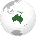 An orthographic projection of geopolitical Oceania.