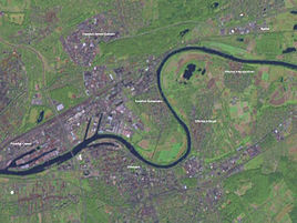 Satellite view of Offenbach and Eastern Frankfurt