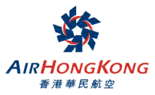 The old Air Hong Kong logo, made up of a navy blue colour pentagon, made up from the five 'A' character formed into a circle. Beneath the logo is the airline's name in both English and Traditional Chinese.