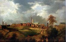 Oldham vu de Glodwick, tableau datant de 1831, peint par James Howe Carse