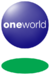 A blue orb with the word Oneworld in the middle and a green disc below