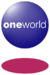 A blue orb with the word Oneworld in the middle and a red disc below