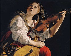 Young woman playing the violin by Orazio Gentilischi