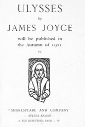 "Page saying &squot;ULYSSES by JAMES JOYCE will be published in the Autumn of 1921 by ""SHAKESPEARE AND COMPANY""  SYLVIA BEACH  8, RUE DUPUYTREN, PARIS  VIe&squot;"
