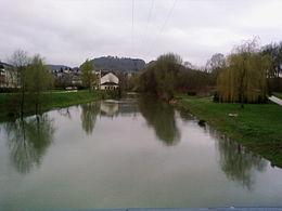 L'Orne en crue à Rombas.
