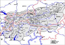 Carte de localisation des massifs de Lofer et Leogang.