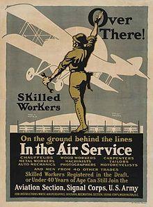 Over there! , affiche de recrutement pour l'armée de l'air américaine, de Louis Fancher, 1918