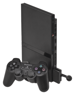 PlayStation 2 Slimline console with DualShock 2 controller