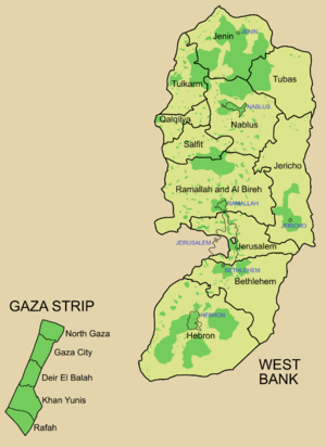 Map showing areas of Palestinian National Authority control (the West Bank) and Hamas Government control (Gaza Strip) in green.