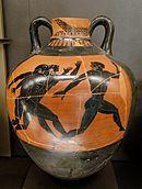 Photographie d'une amphore grecque figurant des coureurs à pied