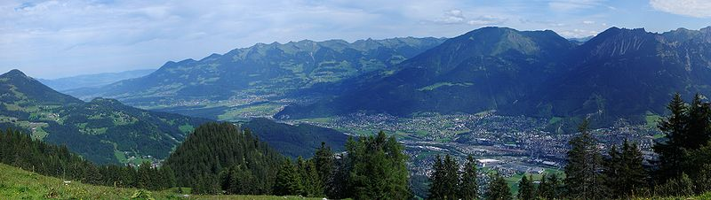 View to Bludenz on the right hand side, some neighbouring villages, Feldkirch and Liechtenstein in the background.
