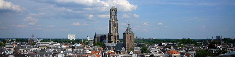 Gezicht op Utrecht met de Dom en de Buurkerk
