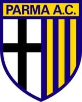 """The text """"Parma A.C."""" sit atop a pennant featuring two halves: a black cross on a white background on the left and yellow and blue vertical stripes on the right."""