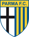 """The text """"Parma F.C."""" sit atop a pennant featuring two halves: a black cross on a white background on the left and yellow and blue vertical stripes on the right."""