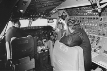 The First Lady Pat Nixon sitting in the cockpit of the first commercial 747 during the christening ceremony in 1970