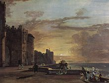 A painting of a terrace at sunset. On the left, the outer facing of a castle; on the right, the ground drops away sharply showing only the distant landscape. A handful of figures in 18th century dress walk or mingle along the terrace.