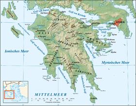 Carte topographique du Péloponnèse.