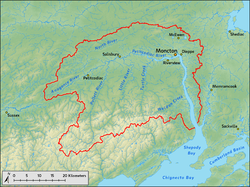 A map shows the course of the river and its tributaries, in addition to the location of its drainage area in southern New Brunswick.
