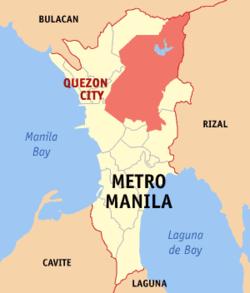 Mapa de la Gran Manila que muestra la situación de Ciudad Quezón