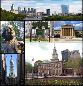 De haut en bas et de gauche à droite: panorama de Philadelphie, statue de Benjamin Franklin, Liberty Bell, Philadelphia Museum of Art, Philadelphia City Hall et Independence Hall.