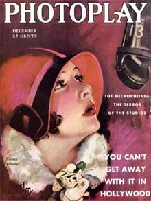 "Magazine cover with illustration of a young woman wearing a form-fitting red hat staring up at a suspended microphone. Accompanying text reads, ""The Microphone—The Terror of the Studios"", and, in larger type, ""You Can&squot;t Get Away With It in Hollywood""."