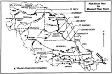 Map showing major dams and reservoirs in the Missouri River basin