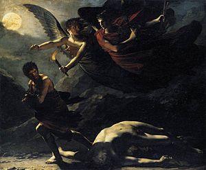 un tableau sombre représentant deux anges ailés poursuivant un homme, s'enfuyant à côté d'un corps nu et inerte