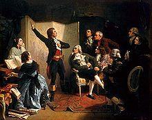 Rouget de Lisle chantant la Marseillaise pour la première fois à l'hôtel de ville de Strasbourg.