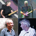 A photo, divided into four frames, shows four men, each in a separate frame and standing alone. The frames are arranged two by two. All the men are in their older years, and have grey hair and weathered faces. The men in the top two frames are holding guitars (the top left an electric, the top right a bass), and are shown from the waist up. The men in the bottom two frames are shown from the chest/shoulders up, and appear to not be behind an instrument.