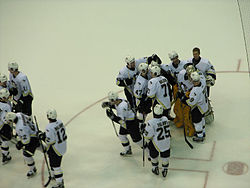 Photo des joueurs des Penguins se congratulant sur la glace.