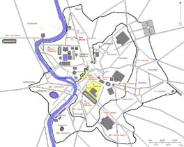 Locatie van de Ara Pacis (in rood)