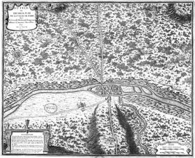 Reconstitution libre du plan de Lutèce selon d'Anville en 1705.