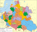 Map indicating the administrative division of the Polish-Lithuanian Commonwealth, 1619