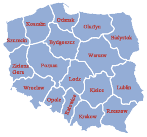 Poland's voivodeships after 1957.