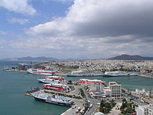 Panoramic view of the western part of the city and the port of Piraeus.