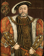 Painting of large bearded man with fur trimmed cloak, wearing a hat.