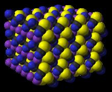 Image de synthèse de la structure du thiocyanate de potassium.