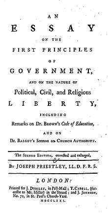 """Page reads: """"An Essay on the First Principles of Government, and on the Nature of Political, Civil, and Religious Liberty, including Remarks on Dr. Brown&squot;s Code of Education, and on Br. Balguy&squot;s Sermon on Church Authority. The Second Edition, corrected and enlarged, by Joseph Priestley, LL.D. F.R.S. London: Printed for J. Dodsley, in Pall-Mall; T. Cadell, (successor to Mr. Millar) in the Strand; and J. Johnson, No. 72 in St. Paul&squot;s Church-Yard. MDCCLXXI."""""""
