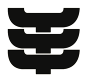 """Logo consisting of three identical stacked elements. Each element has the shape of a sideways-turned letter """"C"""" with an extra leg at the bottom centre."""
