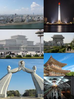 De haut en bas et de gauche à droite: vue de la ville, Tour Juche, Palais-mémorial de Kumsusan, Arc de triomphe de Kim Il-sung, Arc de la réunification, tombe de Jumong et station de métro.