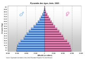 Pyramide des âges de l'Inde en 2005.